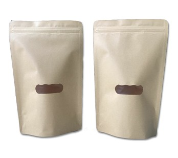 Biodegradable kraft paper bag with visible window