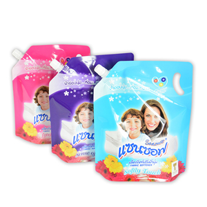 Liquid detergent packaging stand up spout pouch