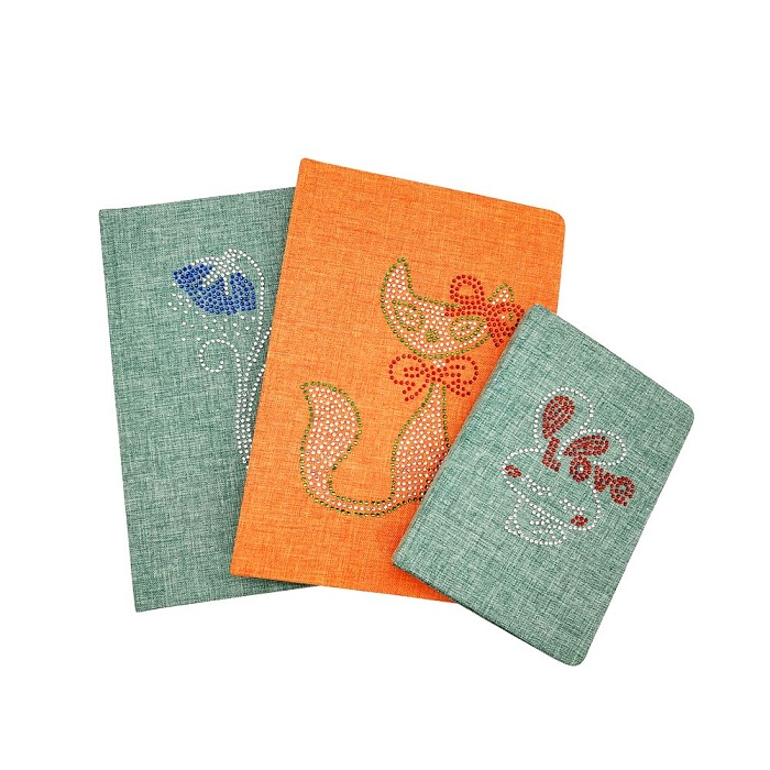 Personalized linen fabric notebook with diamond